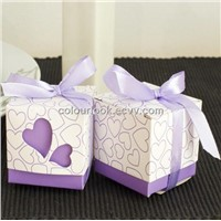 Cube shaped wedding favour gift box - Purple Hearts with ribbon design