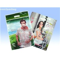Eco-friendly 13 Colors Printing Thin Garment Plastic Bags With Handle For Packing Clothes