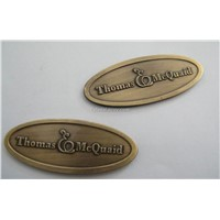 Furniture Label, embossed metal label, badge logo,Brass furniture badge