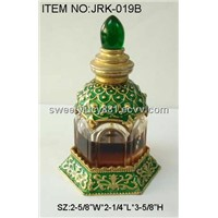Metal perfume bottle with colorful painting