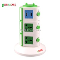 Three pin smart vertical extension socket with USB interface