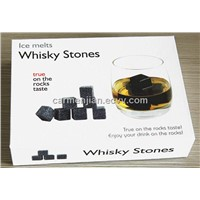 Whisky cooling wine stone,9pcs/set,color box package with velvet bag