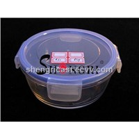 blue high borosil glass storage container set