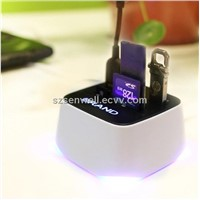 USB Hub with LED Card Reader
