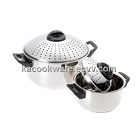 6qt & 2qt Stainless Steel Pasta Pot Set with Locking Strainer Lids