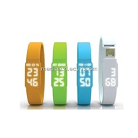 2013 New Style Functional Silicone Wristband USB LED Watch