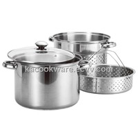 8 Qt Stainless Steel Pasta Cooker / Steamer with 2 Inserts