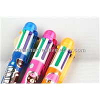 8 color push action ball pen with string/lanyard Multicolor Pen