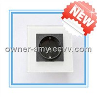 High Quality Glass Panel EU Standard Wall Socket Black White Color USE For 2-pin plug, 3-pin plug