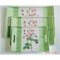 MATT LAMINATION MELAMINE TRAY WITH HANDLE