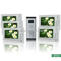 Photo Shooting and Recording 7 Inch Screen 5 Apartments Video Door Intercom System