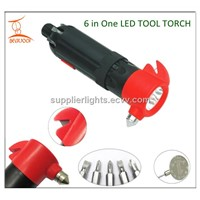 Screwdrivers,belt cutter,safety hammer LED Tool Flashlight