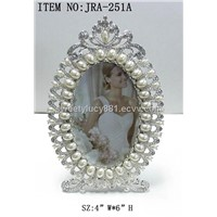 Wedding photo frame with pearls and crystals