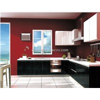 black lacquer kitchen cabinet with wood veneer, cabinet for kitchen