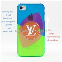green-red-blue 3 pieces transparent HQ PC metal Badge phone case