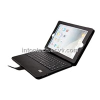leather case with bluetooth keyboard for ipad 2 and new ipad
