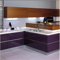 purple lacquer kitchen with wood veener kitchen cabinet