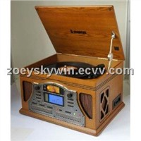 wooden turntable record player withLCD displayer