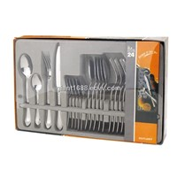 24 Pcs Stainless Steel Dinnerware Set, Knife, Fork Spoon and Tea Spoon