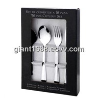 24 Pcs Stainless Steel Cutlery Set with Paper Colorful Box