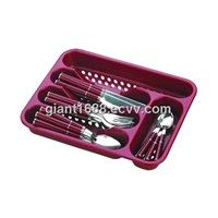 24pcs Plastic Handle Cutlery Set with Plastic Tray