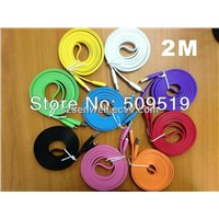 2m 6ft 8 Pin Wide Flat Colorful Noodle Data Sync USB Charger Cable for iPhone 5 5g iPad Mini