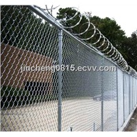Chain Link Fabric with Barbed Wire on Top