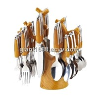 Discount Price Wood Grain Stainless Steel Cutlery Set
