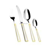 Mirror Polish Stainless Steel Cutlery with Gold Plating