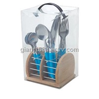16pcs Plastic Handle Cutlery Set with Wood Box (New)