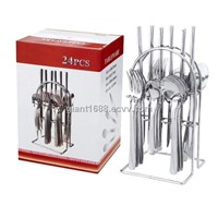 24 Pcs Stainless Steel Cutlery Set with Wire Stand