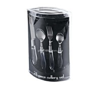 24pcs Plastic Handle Cutlery Set with PVC Box