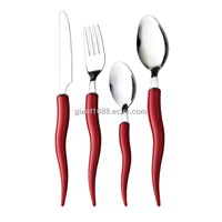 4pcs Plastic Handle Stainless Steel Cutlery Chilli Handle