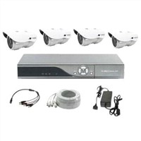 All-in-one Security System with 4pcs Outdoor Day/Night Vision Cameras and 1pc D1 Resolution DVR
