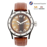 American brand men' watch genuine leather band quartz watches