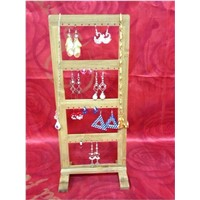 Bamboo Jewelry Display Rack Earring Display Stand