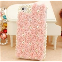 Bud roses for the iphone 5 with a protective shell pearl diamond cell phone casing