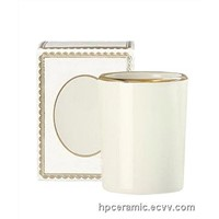 Ceramic Candle Jars with Gold Banding