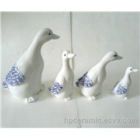 Ceramic Duck with Blue Paiting