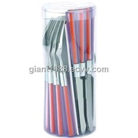 Colored Plastic Handle Cutlery Set