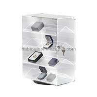 Countertop Acrylic Display Case Boxed-Jewelry Rack Rotating Lucite Box Storage