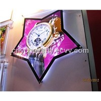 Crystal light box with clock