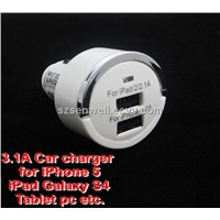 DC 5V 3.1A Dual USB Sockets Mini Quick Car Charger for iPad iPhone Samsung Blackberry HTC Tablet PC