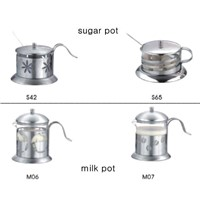 Glass milk pot and sugar pot /cofe pot