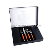 High Class Plastic Handle Cutlery Set with Paper Box 24pcs