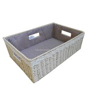 Paper cord bedroom basket for sundries with lace