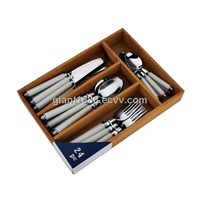 Plastic Handle Cutlery Set with Wood Box