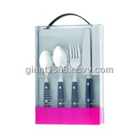 Plastic Handle Cutlery Set with PVC Gift Box