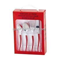 Plastic-Handle Stainless Steel Cutlery Set with PVC Box