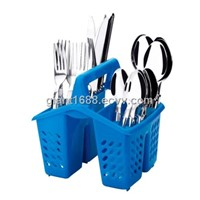 Plastic Handle Cutlery Set with Plate Basket